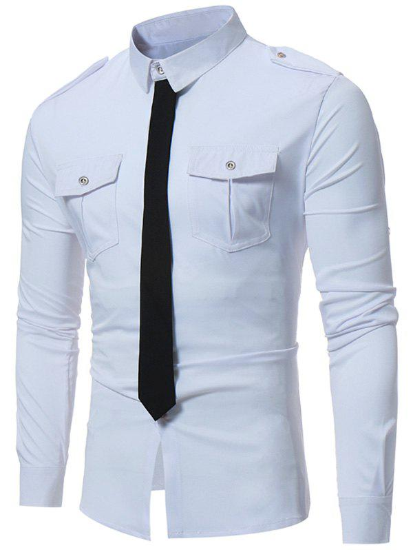 Epaulet Design Faux Tie Double Pocket Shirt - WHITE L