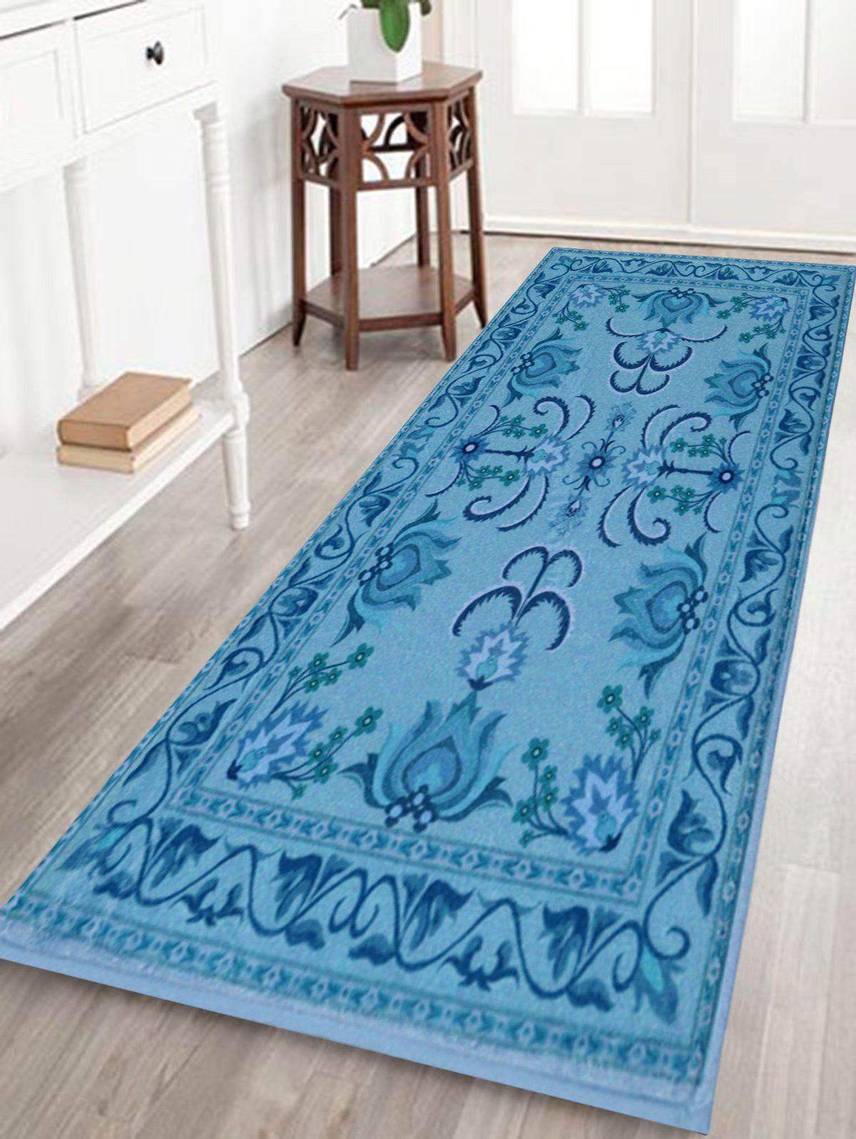 Persian Floral Non Slip Indoor Outdoor Rug - BLUE W24 INCH * L71 INCH