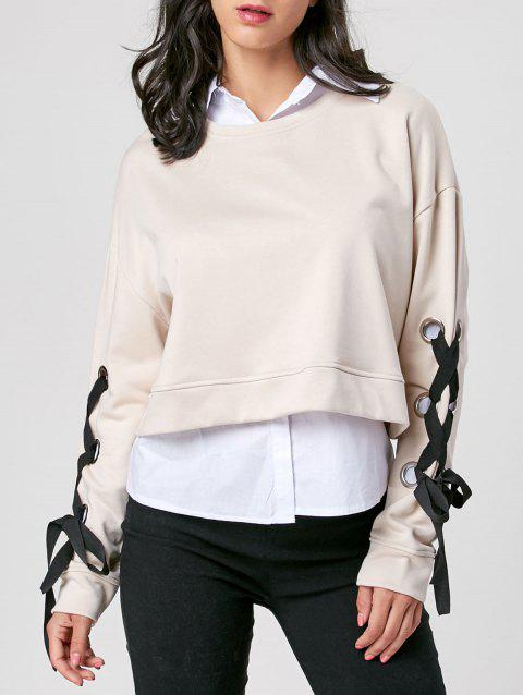 Lace Up Drop Shoulder Cropped Sweatshirt - LIGHT KHAKI M