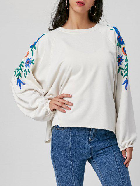 Floral Embroidered Batwing Sleeve Sweatshirt - WHITE L