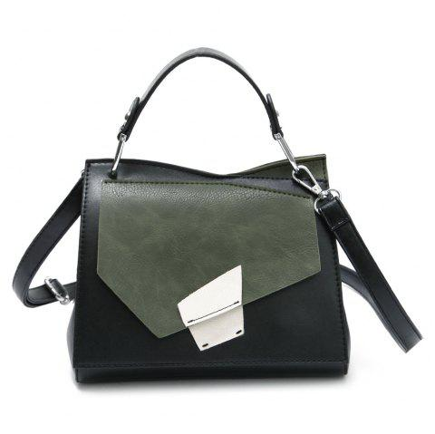 Geometric Color Block Handbag - GREEN
