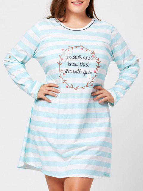 Striped Plus Size Long Sleeve Night Dress - CLOUDY ONE SIZE