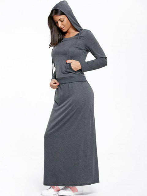 620a7d033f 17% OFF  2019 Kangaroo Pocket Hoodie And Maxi Skirt In DEEP GRAY ...