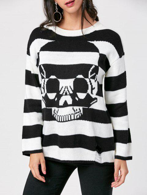 Striped Skull Sweater - BLACK STRIPE XL