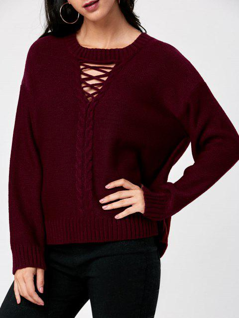 Cable Knit Keyhole Neck Sweater - WINE RED XL