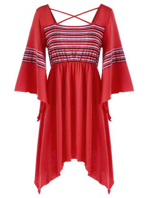 Criss Cross Backless Flare Sleeve Long Blouse - Rouge M