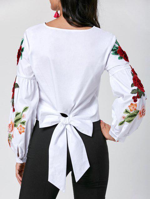 Appliqued Lantern Sleeve Crop Blouse - WHITE L