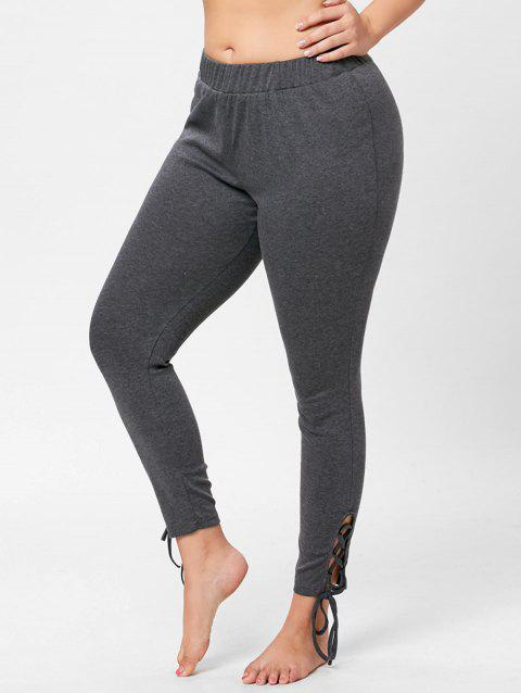 41% OFF] 2019 Plus Size Elastic Waist Lace Up Pants In GRAY XL ...