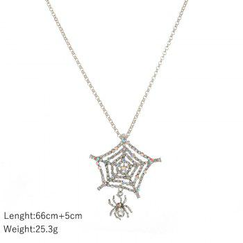 Rhinestoned Halloween Spider Web Charm Necklace - SILVER