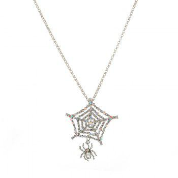Rhinestoned Halloween Spider Web Charm Necklace