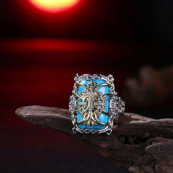 Faux Gem Geometric Engraved Insect Ring - SILVER 6