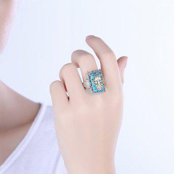 Faux Gem Geometric Engraved Insect Ring - 8 8