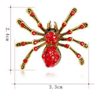 Rhinestones Halloween Spider Shape Brooch - Rouge