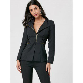 Ruched Zipper Design Tunic Blazer - BLACK M