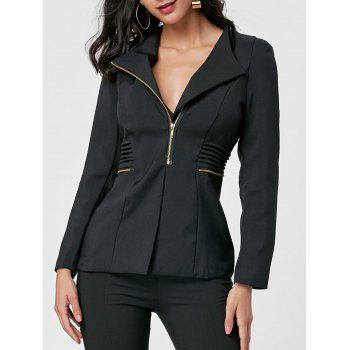 Ruched Zipper Design Tunic Blazer