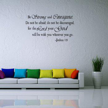 Motto Words Printed Home Decor Wall Sticker - BLACK