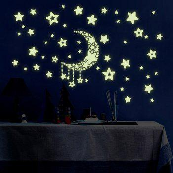 Home Decor Stars Moon Printed Wall Art Sticker - LUMINOUS GREEN