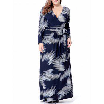 Purplish Blue V Neck Long Sleeve Dress Cheap Casual Style Online