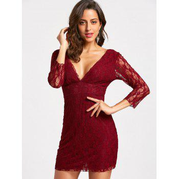 Empire Waisted Plunging Neckline Mini Lace Dress - WINE RED M