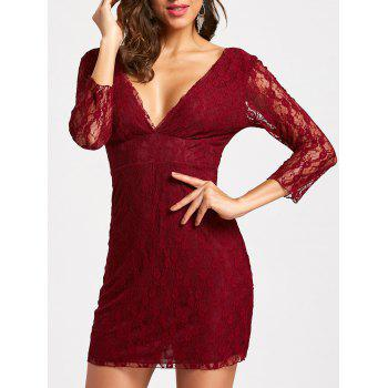 Empire Waisted Plunging Neckline Mini Lace Dress - WINE RED WINE RED