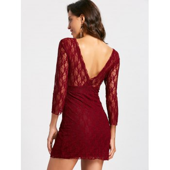 Empire Waisted Plunging Neckline Mini Lace Dress - WINE RED XL