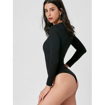 Knitted Criss Cross Bodysuit - BLACK M