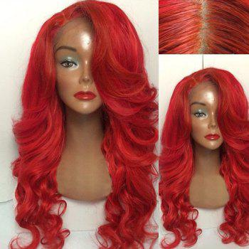 Long Side Part Wavy Human Hair Lace Front Wig - RED RED