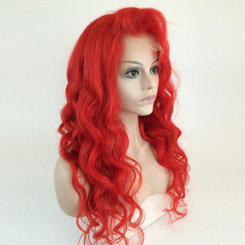Long Side Part Wavy Human Hair Lace Front Wig - RED