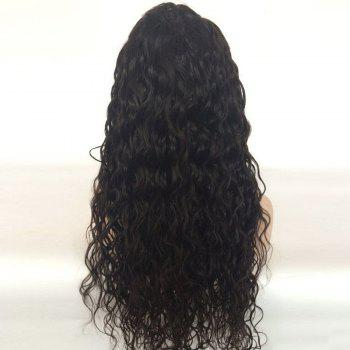 Long Free Part Shaggy Water Wave Human Hair Lace Front Wig - NATURAL BLACK