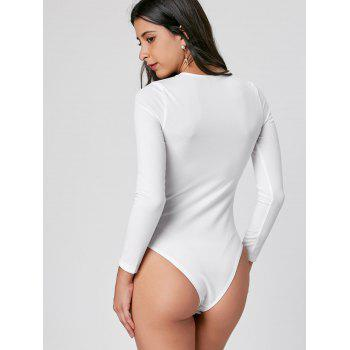 Knitted Criss Cross Bodysuit - WHITE M