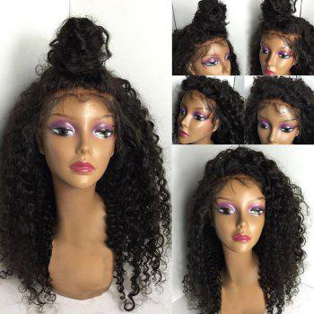 Long Fluffy Free Part Kinky Curly Lace Front Human Hair Wig - NATURAL BLACK NATURAL BLACK