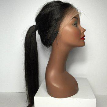 Lace Front Long Free Part Straight Human Hair Wig -  NATURAL BLACK