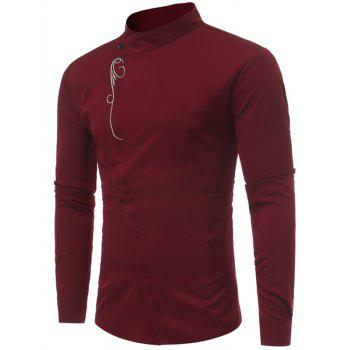 Mandarin Collar Asymmetric Button Up Embroidery Shirt - WINE RED WINE RED