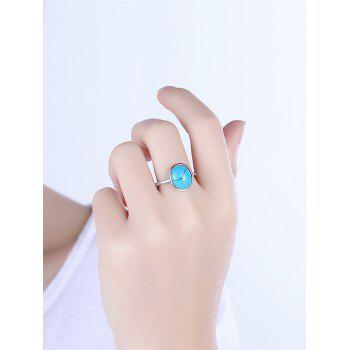 Bohemian Faux Gem Oval Ring - SILVER SILVER