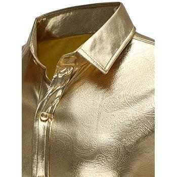 Long Sleeve Embossed Metallic Shirt - GOLDEN S