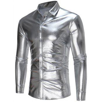 Long Sleeve Embossed Metallic Shirt - SILVER SILVER
