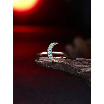 Faux Gem Moon Circle Finger Ring - GOLDEN 8