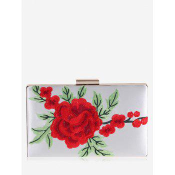Flower Embroidery Clutch Bag - WHITE WHITE