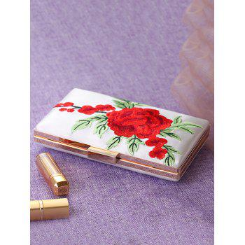 Flower Embroidery Clutch Bag - WHITE