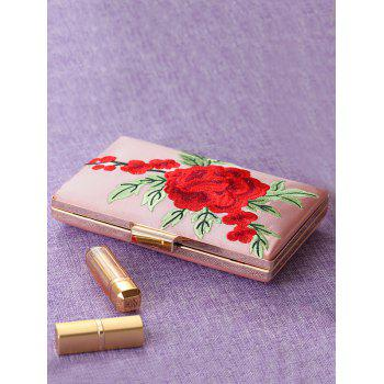 Flower Embroidery Clutch Bag - PINK