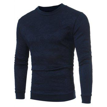 Crew Neck Flower Embossed Sweatshirt - PURPLISH BLUE PURPLISH BLUE