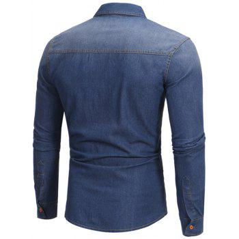 Light Wash Chest Pocket Denim Shirt - DEEP BLUE DEEP BLUE
