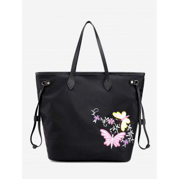 Flower Embroidery Drawstring Shoulder Bag - BLACK BLACK
