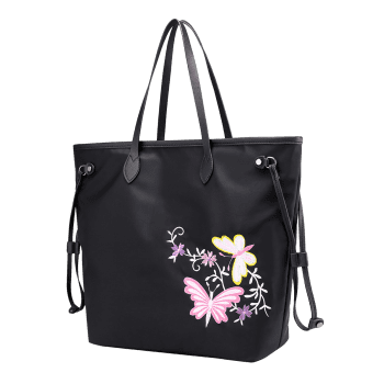 Flower Embroidery Drawstring Shoulder Bag -  BLACK