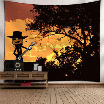 Halloween Pumpkin Graphic Wall Decor Tapestry - YELLOW YELLOW