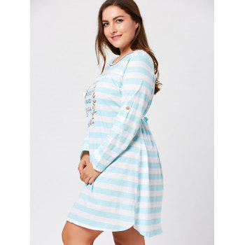 Striped Plus Size Long Sleeve Night Dress - CLOUDY CLOUDY