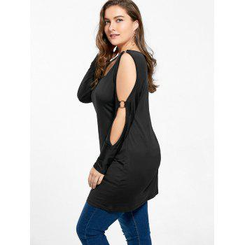 Plus Size Cold Shoulder V Neck Longline T-shirt - BLACK 2XL
