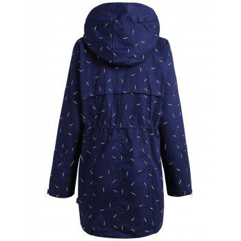 Plus Size Hooded Pocket Printed Jacket - BLUE 4XL