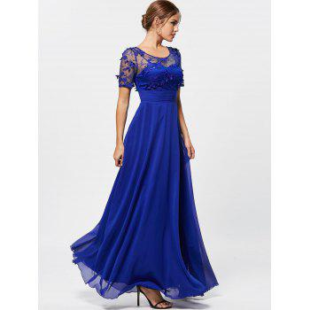See Thru Floral Lace Empire Waist Evening Dress - BLUE L