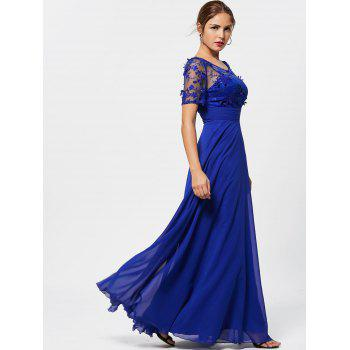 See Thru Floral Lace Empire Waist Evening Dress - BLUE BLUE